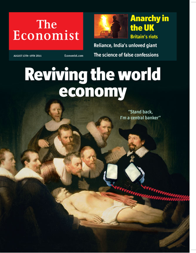 Economist magazine cover. Issue date 13/08/2011. <br> The Anatomy Lesson of Dr. Nicolaes Tulp, 1632 by Rembrandt (1606-69) / Mauritshuis, The Hague, The Netherlands /Bridgeman