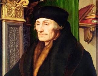 BAL5531 Portrait of Erasmus (1466/9-1536) 1523 (oil and egg tempera on panel) by Hans the Younger Holbein (1497/8-1543) Private Collection