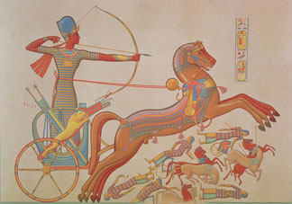 Combat of Ramses-Miamoun against the Khetas on the Borders of the Oronte, from 'Histoire de L'Art Egyptien d'apres les Monuments' by Achille Prisse D'Avennes, Paris, 1878-79 by French School, (19th century) British Library, London, UK