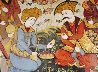 Shah Abbas I (1588-1629) and a Courtier offering fruit and drink (detail) by Persian School Chehel Sotun, or 'The 40 Columns', Isfahan, Iran/ Giraudon