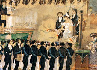 Masonic Initiation Ceremony of a lady Freemason, French School, (19th century) Musee du Grand Orient de France, Paris/ Charmet