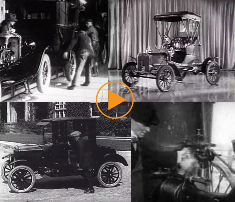 Henry Ford and his Ford Model-T in 1908 - the first affordable car / Bridgeman Footage