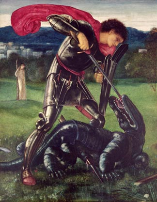 St. George and the Dragon, 1868 Burne-Jones, Sir Edward (1833-98) / William Morris Gallery, Walthamstow, UK
