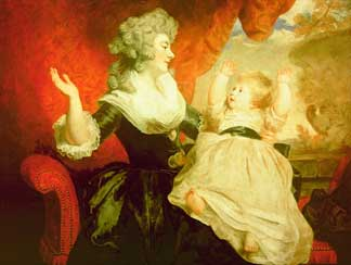 Georgiana, Duchess of Devonshire with her infant daughter Lady Georgiana Cavendish by Sir Joshua Reynolds (1723-92) Chatsworth House, Derbyshire, UK © Devonshire Collection