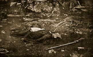 STC354307 Dead Soldier, 1861-65 (sepia photo) by Mathew Brady & Studio