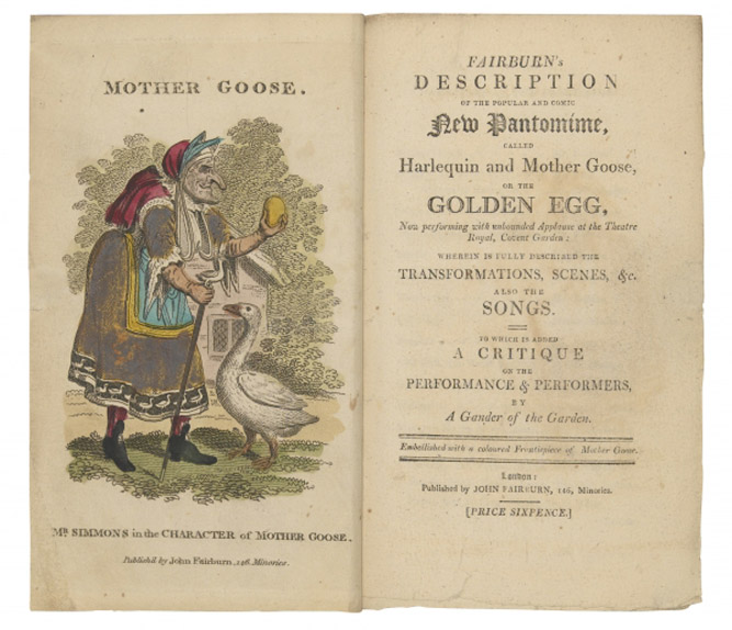 Titlepage of 'Fairburn's Description of the Popular and Comic New Pantomime, called Harlequin and Mother Goose', first edition, London, 1806 (hand-coloured engraving) by George Cruikshank (1792-1878) Private Collection/ Courtesy of Swann Auction Galleries