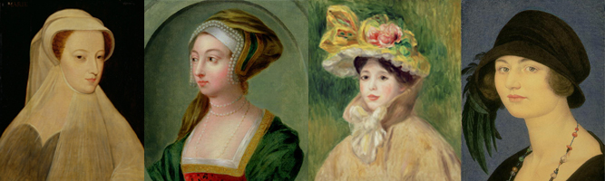 Mary, Queen of Scots by Francois Clouet; Portrait of Queen Anne Boleyn; Girl with Yellow Cape by Pierre Auguste Renoir; Portrait of Jocelyne Verney Gaskin by Joseph Edward Southall