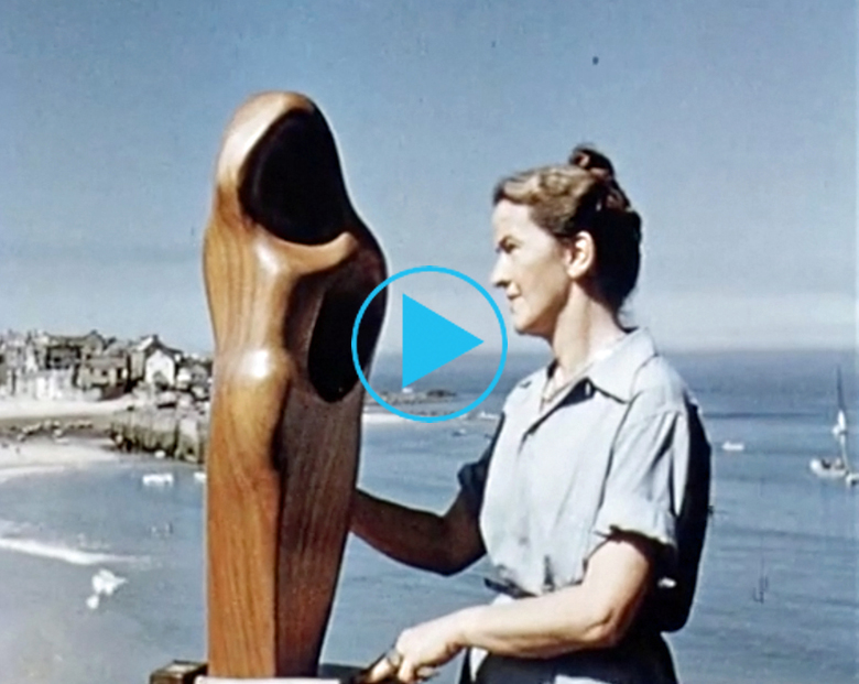 Still from 'Figures In A Landscape; Barbara Hepworth', 1953, British Film Institute series (footage)