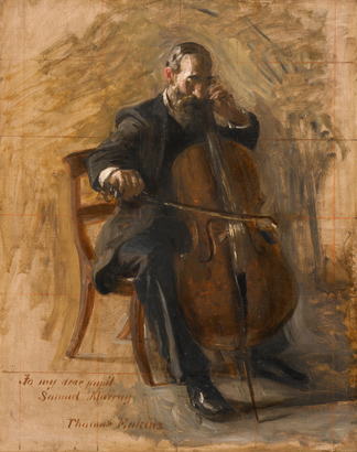 Study for the Cello Player, 1896 (oil on canvas mounted on board) by Thomas Eakins Cowperthwait / The Heckscher Museum of Art