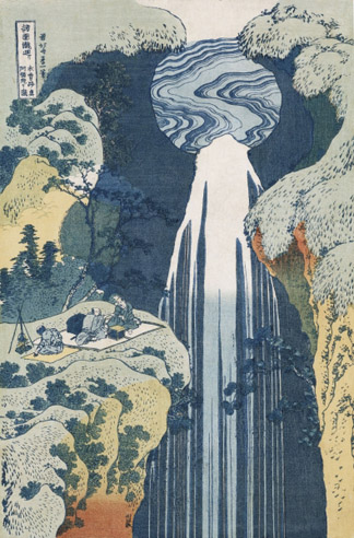 CH93691 Amida Waterfall on the Kiso Highway (colour woodblock print) by Katsushika Hokusai/ Christie's Images