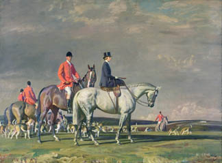 H.R.H. Princess Mary, the Princess Royal, on Portumna and Henry Lascelles, 6th Earl of Harewood, Master of the Bramham Moor Hunt, on Tommy (oil on canvas), Sir Alfred Munnings (1878-1959) / © Harewood House Trust