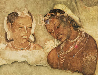 XIR158616 A Princess and her Servant, copy of a fresco from the Ajanta Caves, India (fresco) by Indian School</BR>Musee Guimet, Paris, France/ Lauros / Giraudon