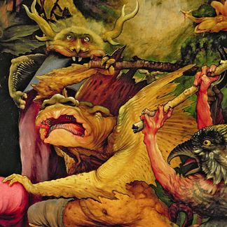 XJL62331 Demons Armed with Sticks, detail from the reverse of the Isenheim Altarpiece, 1512-16 (oil on panel) by Matthias Grunewald/ Musee d'Unterlinden, Colmar, France
