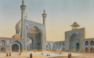STC88746 View of the Courtyard of the Mesdijd Shah, Isfahan, from 'Modern Monuments of Persia', engraved by Bachelier, 1856 (litho) by Xavier Pasacal Coste/ The Stapleton Collection