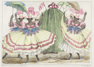 Red-Set Girls and Jack-in-the-Green, from 'Sketches of Character', 1838 by Isaac Mendes Belisario / Yale Center for British Art