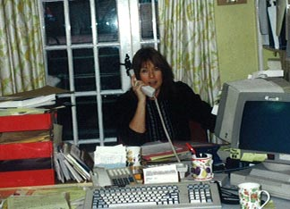 Jenny Page, Picture Research Manager at work. Early 1990s.