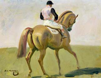 The Pink Jockey (oil on panel), Munnings, Sir Alfred (1878-1959) / Yale Center for British Art, Paul Mellon Collection, USA