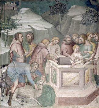 Joseph Thrown in a Well by his Brothers, 1356-67 (fresco), Bartolo di Fredi, also Manfredi de Battilori (1330-1410) / Collegiata, San Gimignano, Italy / Alinari