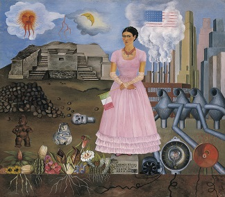 Self-Portrait on the Borderline between Mexico and the United States, 1932 (oil on metal), by Frida Kahlo,(1907-54)