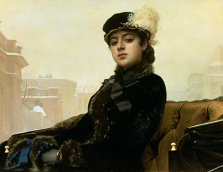 BAL41739 Portrait of an unknown woman, 1883 (oil on canvas) by Ivan Nikolaevich Kramskoy (1837-87)/ Tretyakov Gallery, Moscow, Russia