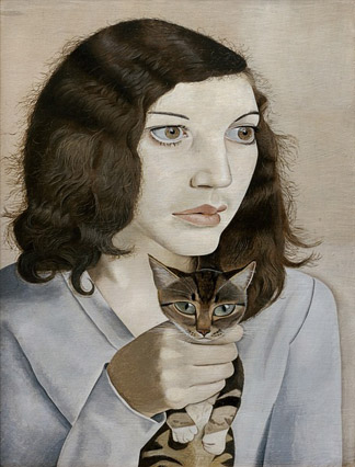 Girl with a Kitten, 1947 (oil on canvas) by Lucian Freud (1922-2011) / Private Collection / © The Lucian Freud Archive