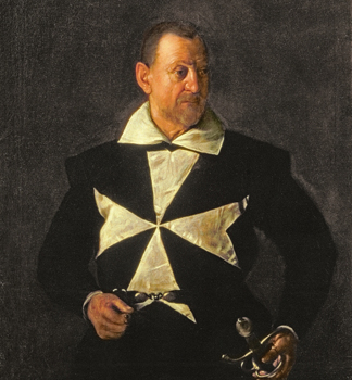 AII79607 Portrait of a Knight of Malta, possibly Fra Antonio Martelli (1607-08 (oil on canvas)/ Palazzo Pitti, Florence, Italy