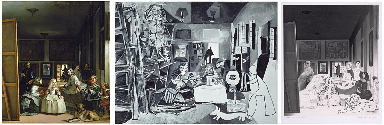 Left: Las Meninas or The Family of Philip IV, c.1656 (oil on canvas) by Velazquez | Middle:  Las Meninas, No.1, 1957 (oil on canvas) by Pablo Picasso (1881-1973) | Right: Picasso's Meninas (etching, engraving & aquatint), by Richard Hamilton (1922-2011)