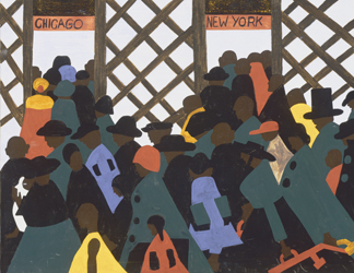 (detail) The Migration Series, Panel No. 1 (detail), 1940-41 by Jacob Lawrence (1917-2000) The Phillips Collection, Washington, D.C.