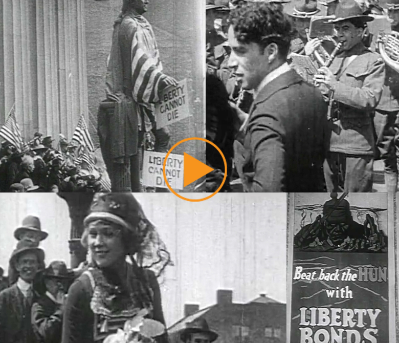 War bond rally with Hollywood stars from the silent film era such as Marie Dressler, Mary Pickford, Charlie Chaplin, and Douglas Fairbanks / Bridgeman Footage