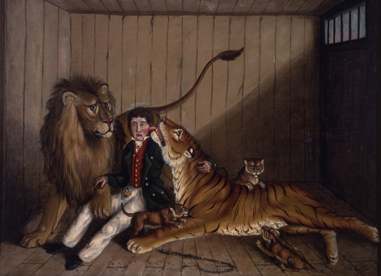 In the Lion's Den, c.1870 (oil on canvas) by W. H. Rogers (fl.1870)