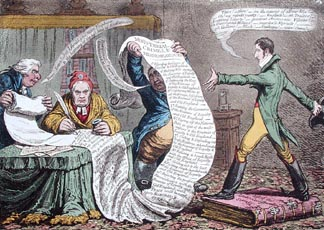 Preparing for the Grand Attack, or A Private Rehearsal of the ci-devant Ministry in danger, published by Hannah Humphrey in 1801 (hand-coloured etching) by James Gillray (1757-1815) © Courtesy of the Warden and Scholars of New College, Oxford