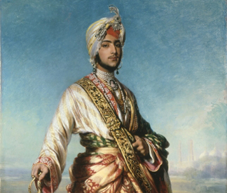 (detail) The Maharaja Dalip Singh, 1854 by Franz Xaver Winterhalter/ The Royal Collection © Her Majesty Queen Elizabeth II