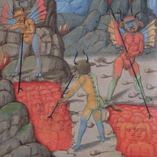 CND187030 Usurers in hell, from 'Le Tresor de Sapience' written by Jean Charlier de Gerson (vellum) (detail) by French School/ Musee Conde, Chantilly, France
