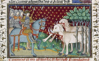 Knights attacking elephants, from the 'Shrewsbury Talbot Book of Romances', c.1445 (vellum), French School, (15th century)