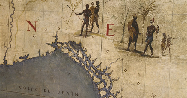 Terrestrial globe, detail of the Gulf of Benin, 1683 by Vincenzo Maria Coronelli (1650-1718) <br>Bibliotheque Nationale, Paris, France/ © Christian Larrieu