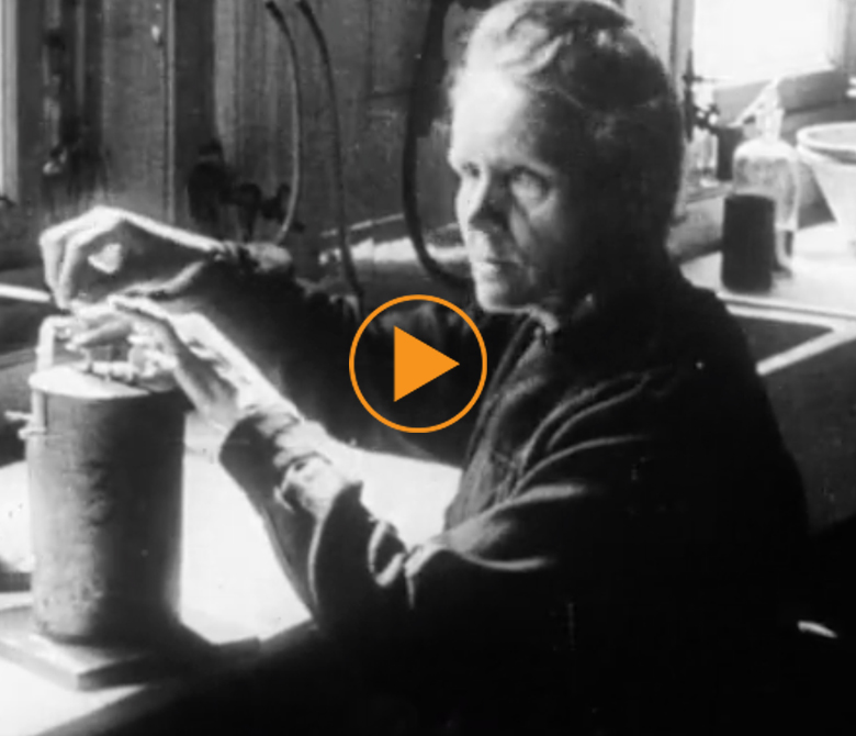 Women as teachers, scientists and judges in 1950s - clip features Marie Curie in her lab / Film Images / Bridgeman Footage