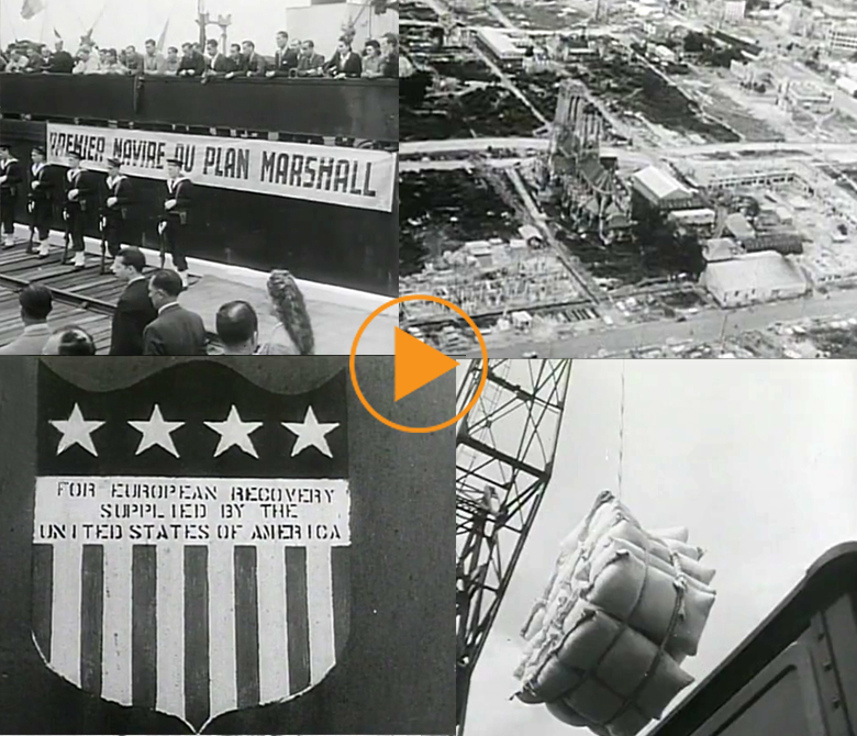 Victorious US troops in France, aftermath damage of WWII, Marshall Plan aid arrives. 1945 / Bridgeman Footage