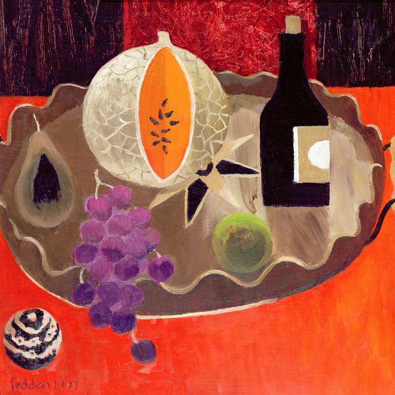 The Inlaid Tray, 1997 (oil on board) by Mary Fedden (1915-2012) / © Panter and Hall Fine Art Gallery