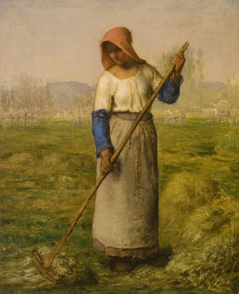 MAM712449 Peasant Woman Raking (detail), c.1855-1860 (oil on panel), Jean-Francois Millet (1814-75) / Mead Art Museum, Amherst College, USA