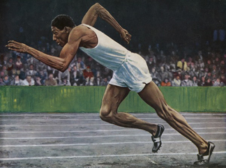 Arthur Wint of Jamaica winning the Gold Medal for the 400m race at the 1948 London Olympic Games/ Private Collection