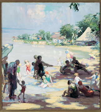 Afternoon at the Beach, Chesapeake Bay, 1930s (oil on canvas) by Gladys Nelson Smith / Morris Museum of Art, Augusta, GA