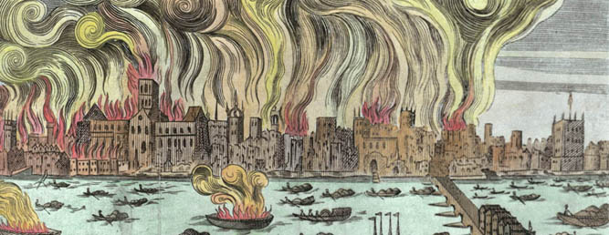The Great Fire of London 1666 (woodcut) (later colouration), English School, (17th century) / © Museum of London, UK