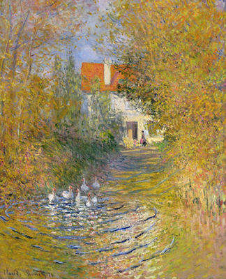 CLK339910 The Duck Pond, 1874 (oil on canvas) by Claude Monet (1840-1926)</BR>Sterling & Francine Clark Art Institute, Williamstown, USA