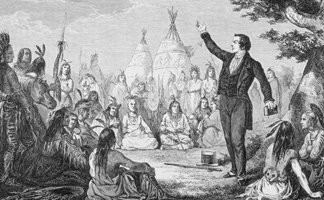 KW114969 Joseph Smith, Founder of the Mormon Church, Preaching to Indians, from 'La Vuelta al Mundo', published in Madrid, 1865 (engraving)/ Ken Welsh