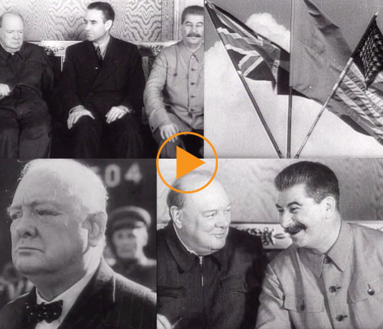 Churchill meets Stalin at the Second Moscow Conference in 1942 / Bridgeman Footage