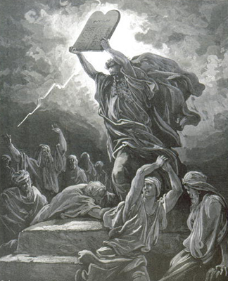 OTB182322 Moses breaking the Tablets of the Law, engraved by Hotelin, c.1868 (engraving) by Gustave Dore/ Private Collection
