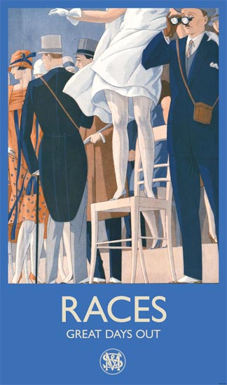 M&S window display poster. At the Races (crop), illustration from 'Le Sourire', June 1932 © The Advertising Archives