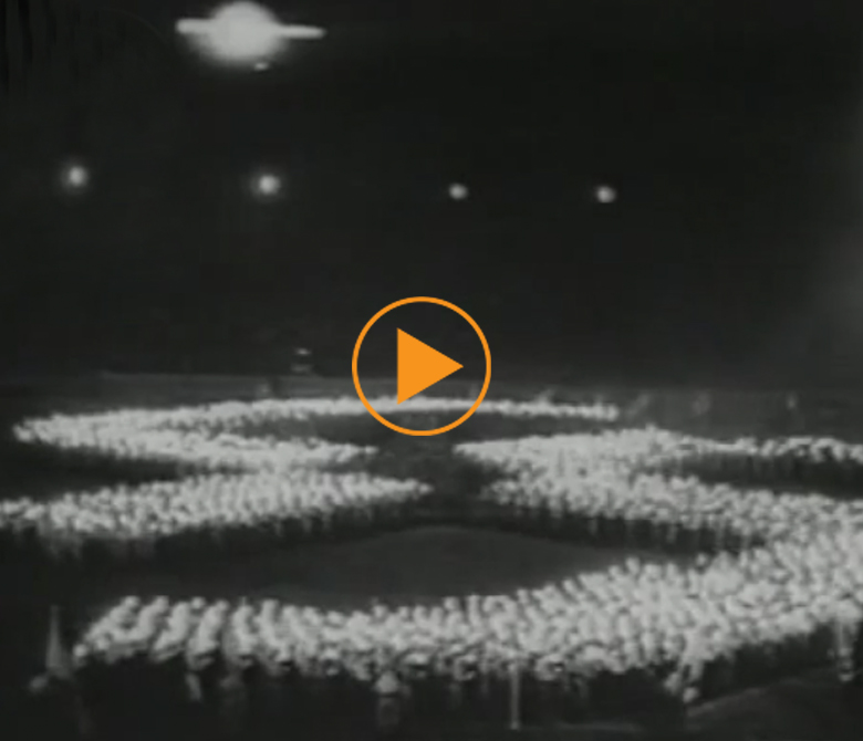 Mussolini gives a speech in German, at the Berlin Olympic Stadium, 1937 / Bridgeman Footage
