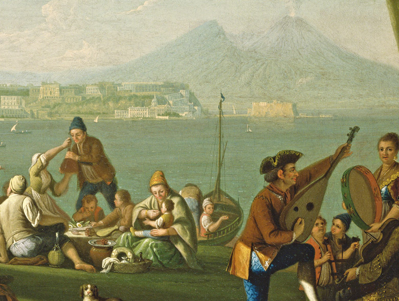 Detail of Naples from the West, with Peasants Gaming, c.1760 (oil on canvas)Pietro Fabris (fl.1768-78)