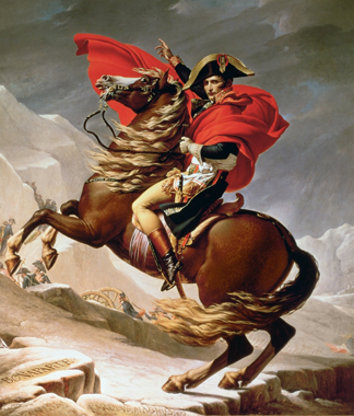 Napoleon Crossing the Alps, c.1800 (oil on canvas) by Jacques Louis David/ Schloss Charlottenburg, Berlin